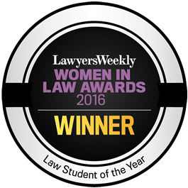 WINNER - Lawyers Weekly Law Student of the Year Award 2016